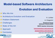 Model-based Software Architecture Evolution and Evaluation