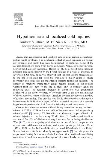 Hypothermia and localized cold injuries