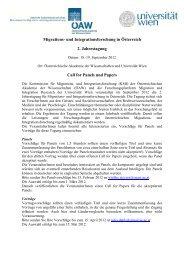 Call for papers Jahrestagung - Forschungsplattform Migration and ...
