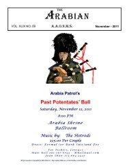 November 2011 Arabian Newsletter - Arabia Shrine Temple