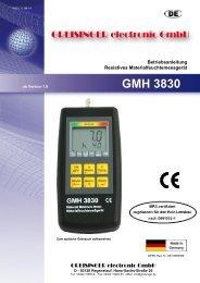GMH 3830 - Greisinger electronic GmbH