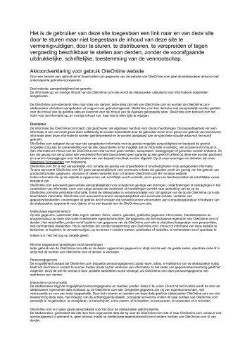 Akkoordverklaring OlieOnline - Olie online kopen