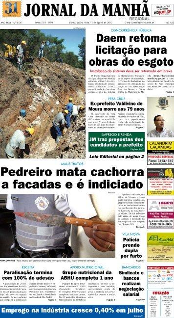 Pedreiro mata cachorra a facadas e é indiciado - Jornal da Manhã