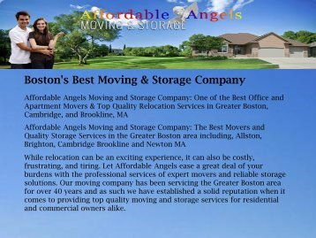 Boston's Best Moving & Storage Company