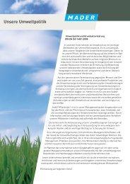 Umweltmanagement bei Mader