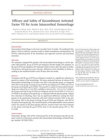 Efficacy and Safety of Recombinant Activated Factor VII for ... - Wikia