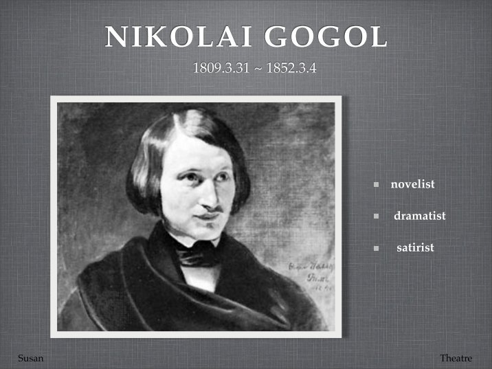 namesake nikolai gogol and gogol s The namesake is a 2006 indian-american drama film directed by mira nair and written by sooni taraporevala based on the novel the nikolai gogol's the overcoat.
