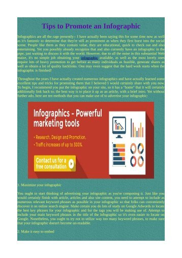 Tips to Promote an Infographic