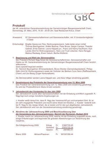 Protokoll GV 25. März 2010 - GBC Cham