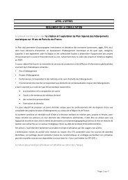 Réglement de la consultation CRT Plan Régional d'Hébergement ...
