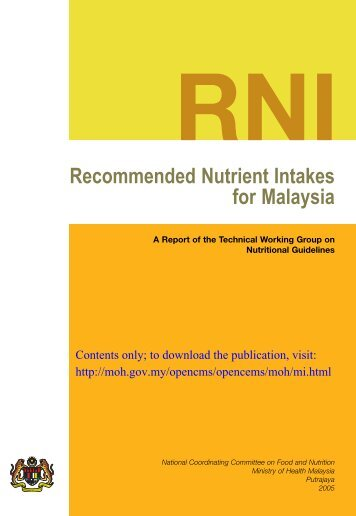 rni malaysia View essay - malaysia rni 2005 from nutrition a at universiti putra malaysia rni recommended nutrient intakes for malaysia a report of the technical working group on.