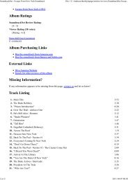 Track Listing - The Escape From New York & LA Page - A Tribute to ...