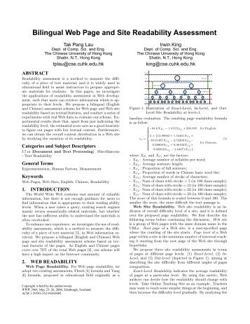 Bilingual Web Page and Site Readability Assessment - WWW2006
