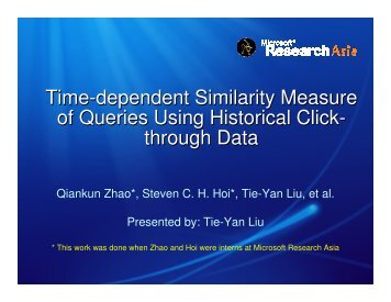 Time-dependent Similarity Measure of Queries Using ... - WWW2006