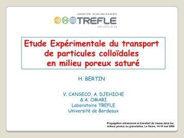 Etude Expérimentale du transport de particules colloïdales en ... - SFA