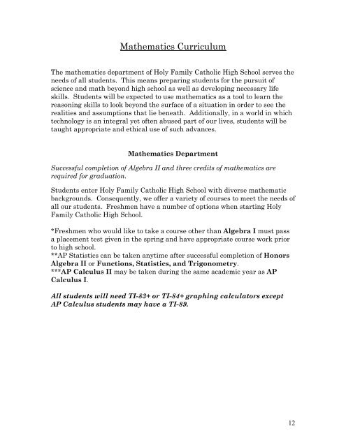 Courses (pdf) - Holy Family Catholic High School
