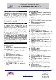 Produktinfo - aktivas - Hausratversicherung Aspecta - 2005-03-22
