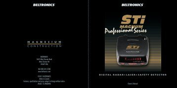 Beltronics STi Magnum Owners Manual - Radar Detectors