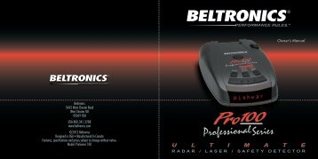Pro 100 Owner's Manual - Beltronics