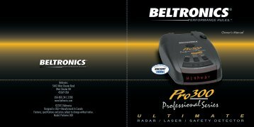 Pro 300 Owner's Manual - Beltronics