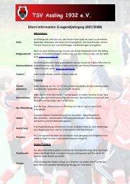 Eltern-Information: G-Jugend (Jahrgang 2006/2007) - TSV Assling