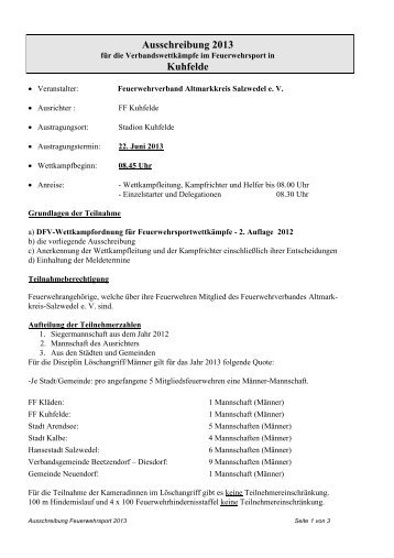 Ausschreibung 2013 - Feuerwehrverband Altmarkkreis Salzwedel eV