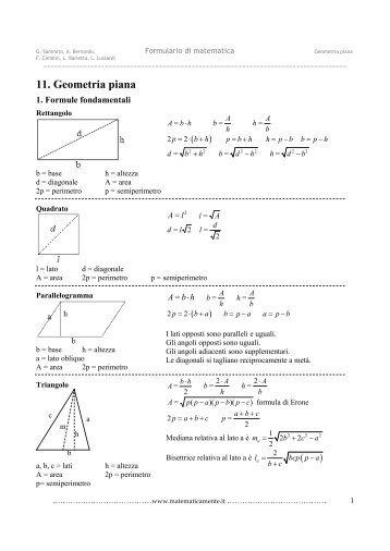 Formulario Sezione Geometria Piana Wwwlezionidimateit 1