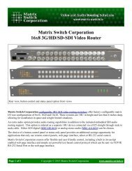 Matrix Switch Corporation 16x8 3G/HD/SD-SDI Video Router