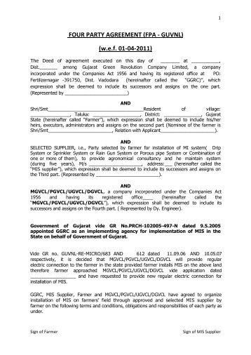 Tri Party Agreement Tpa Drip Gujarat Green Revolution