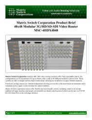 Matrix Switch Corporation Product Brief 48x48 Modular 3G/HD/SD ...