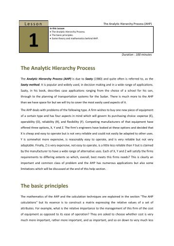 The Analytic Hierarchy Process The basic principles