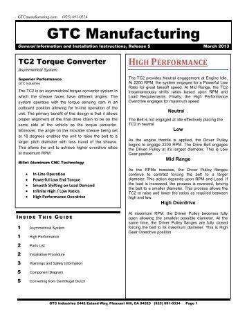 TC2 Go Kart Torque Converter Installation Guide
