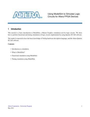 Using ModelSim to Simulate Logic Circuits for Altera FPGA ... - FTP