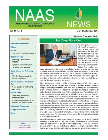 NAAS News - National Academy of Agricultural Sciences, India