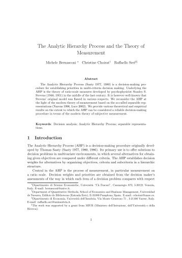 The Analytic Hierarchy Process and the Theory of Measurement