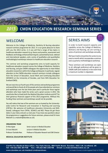 cmdn education research seminar series - School of Medicine