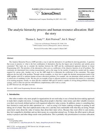 The analytic hierarchy process and human resource allocation: Half ...