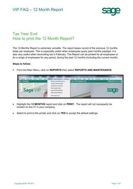 Sage VIP - 12month report - Sage VIP Payroll