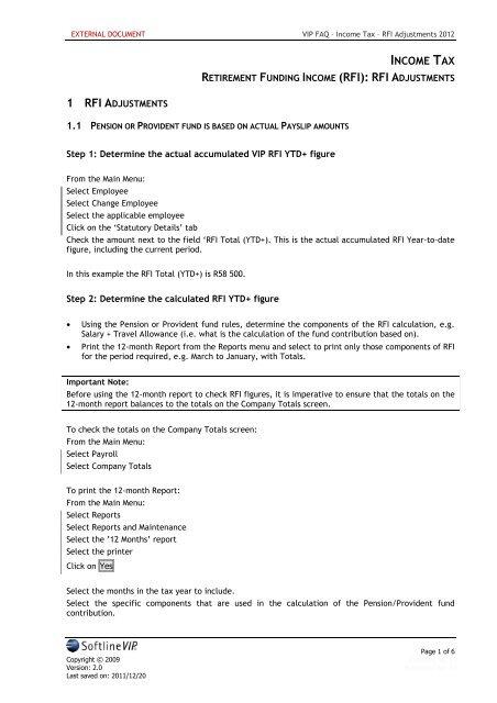 VIP FAQ - Income Tax - RFI Adjustments 2012 - VIP Payroll