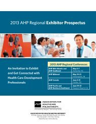 2013 AHP Regional Exhibitor Prospectus - The Association for ...