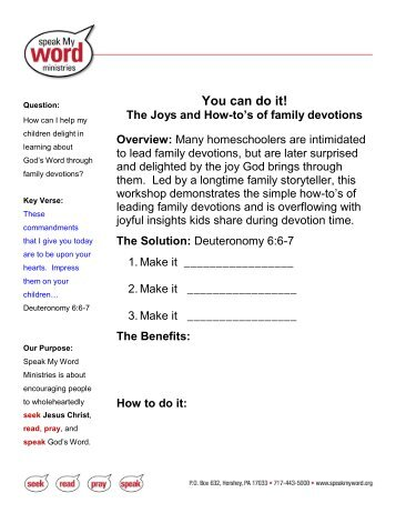 You can do it! The Joys and How-to's of family devotions Overview
