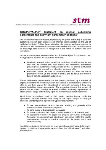 STM/PSP/ALPSP Statement on journal publishing agreements and ...