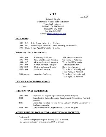 Wright cv - Department of Plant & Soil Science - Texas Tech University