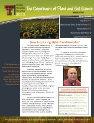 PSS Newsletter - Department of Plant & Soil Science - Texas Tech ...