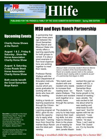 RANCHlife Newsletter – Spring 2008 - Good Samaritan Boys Ranch