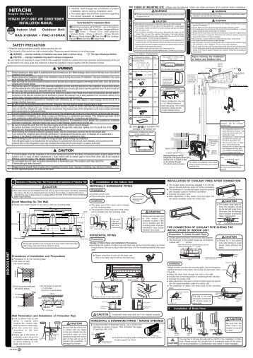 Hitachi split system Air conditioner manual
