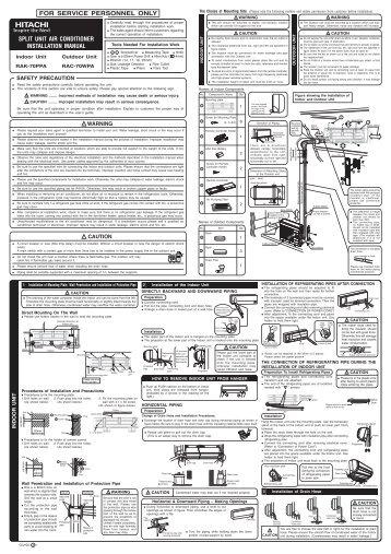 split unit air conditioner installation manual for service personnel rh yumpu com gree split air conditioner installation manual split air conditioner installation manual pdf