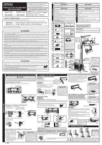Hitachi Split Unit Air Conditioner Installation Manual Safety Precaution