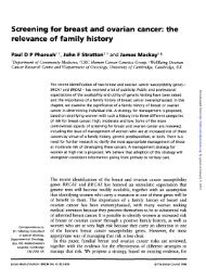 Screening for breast and ovarian cancer: the relevance of family ...