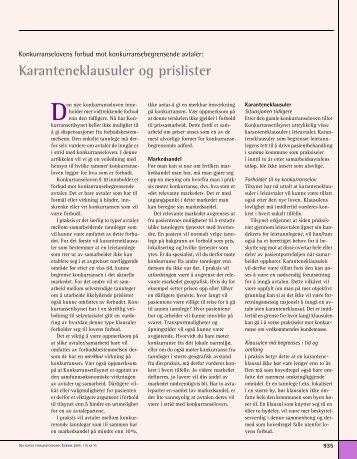 Karanteneklausuler og prislister - Den norske tannlegeforenings ...